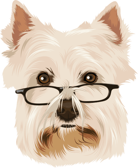 sample cartoon of terrier wearing glasses