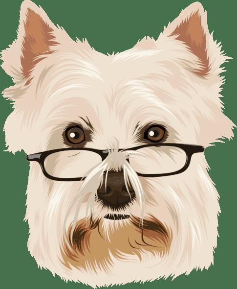 sample cartoon of terrier wearing glasses